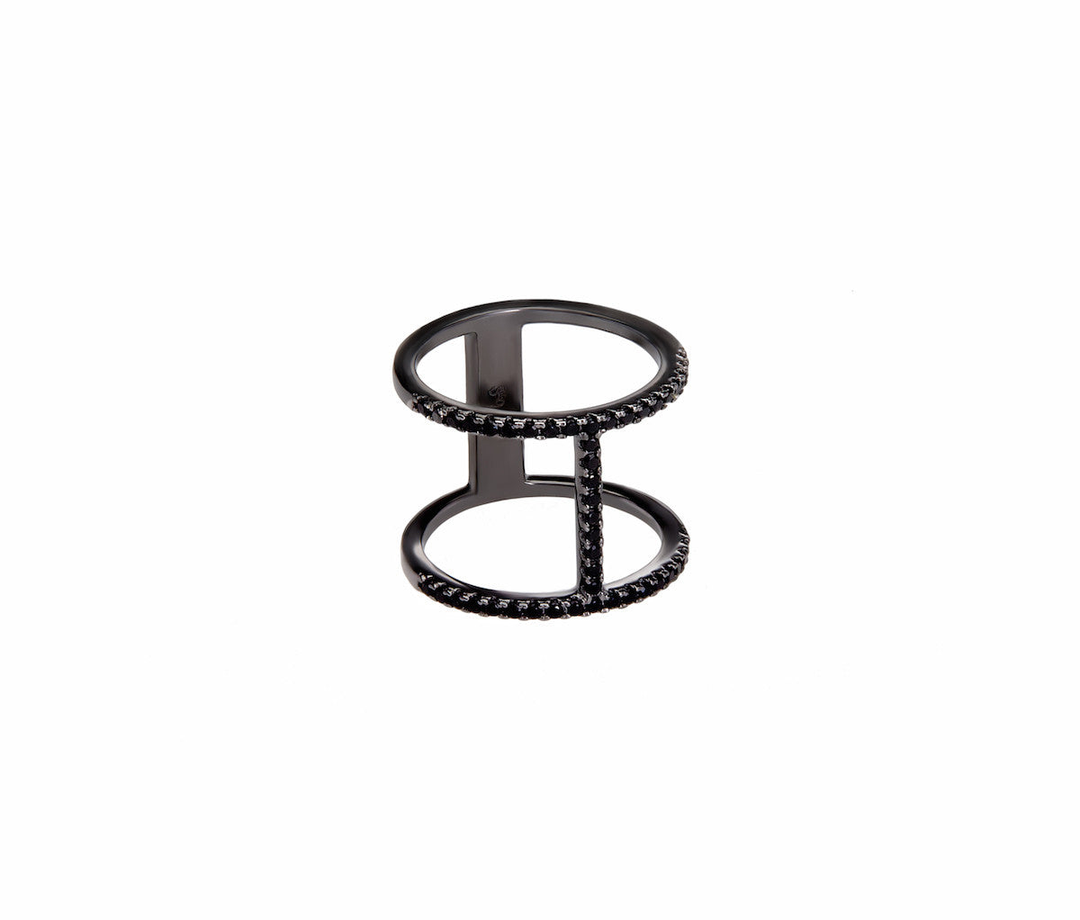 Black Silver H-Shaped Dual Band Ring
