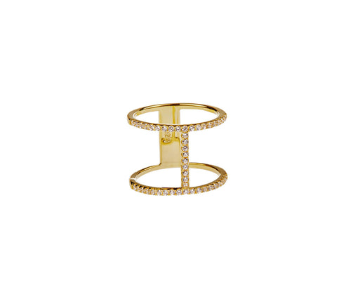 Silver in 1 micron Yellow Gold H-Shaped Dual Band Ring
