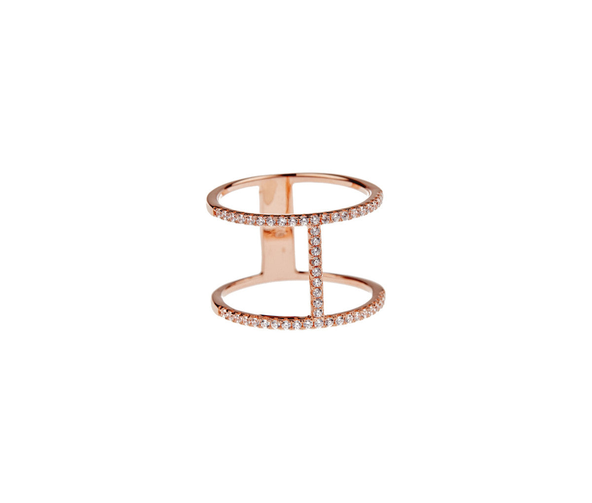 Silver in 1 micron Rose Gold H-Shaped Dual Band Ring