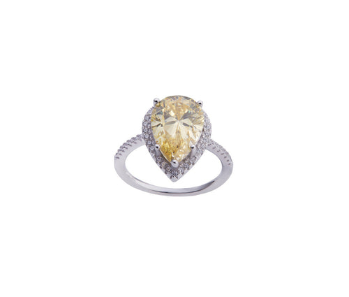 Yellow Diamond Enchanted Teardrop Ring