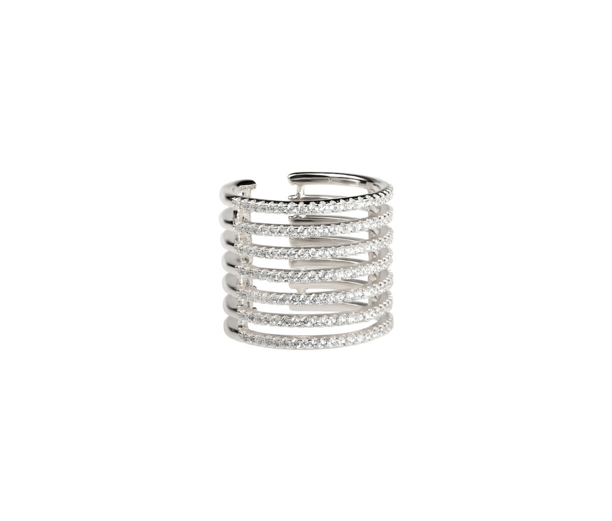7 Bands Caged Silver Ring