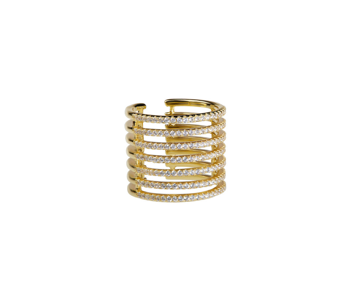 Yellow Gold-plated 7 Bands Caged Silver Ring
