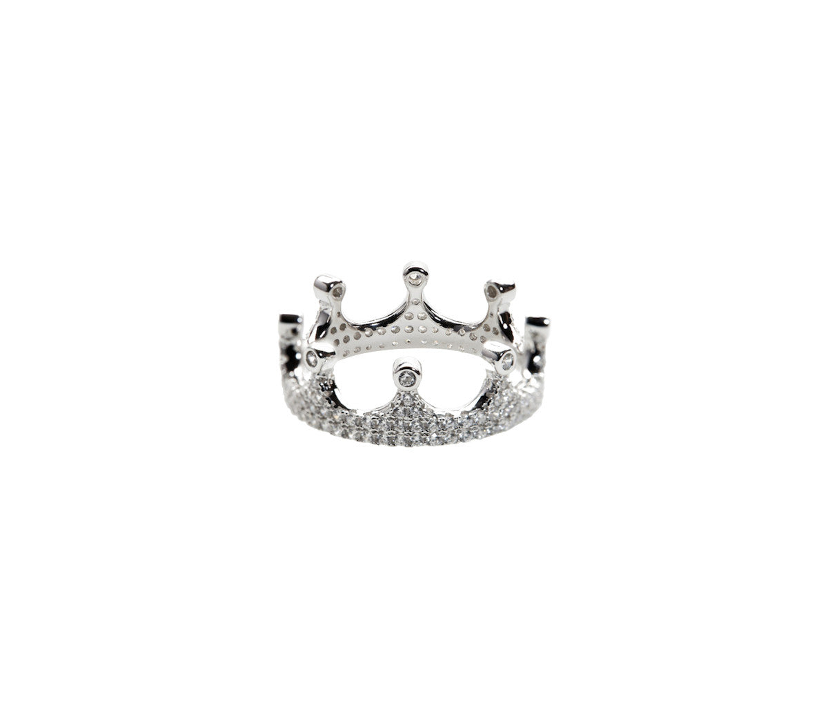 Silver Crystal Crown Simplicity Ring