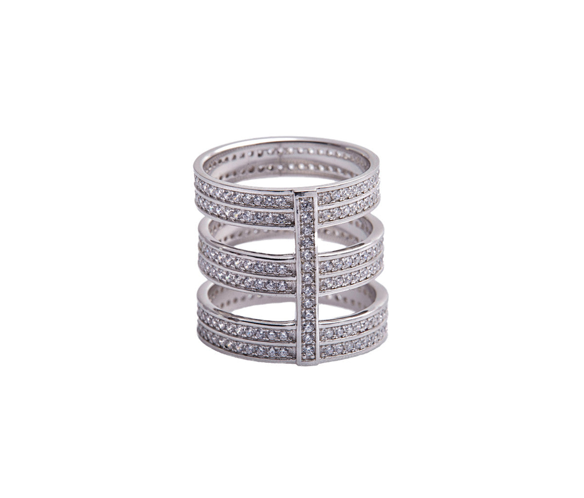 Three Double Band Silver Statement Ring