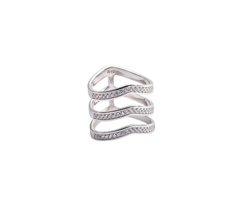 Silver Three Double Band Statement Ring