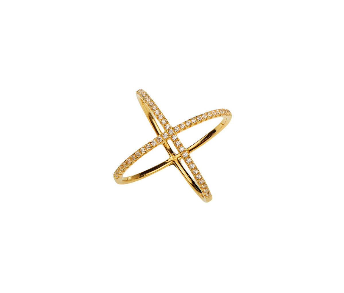 Silver in 1 micron Yellow Gold Crossed-Orbits Ring