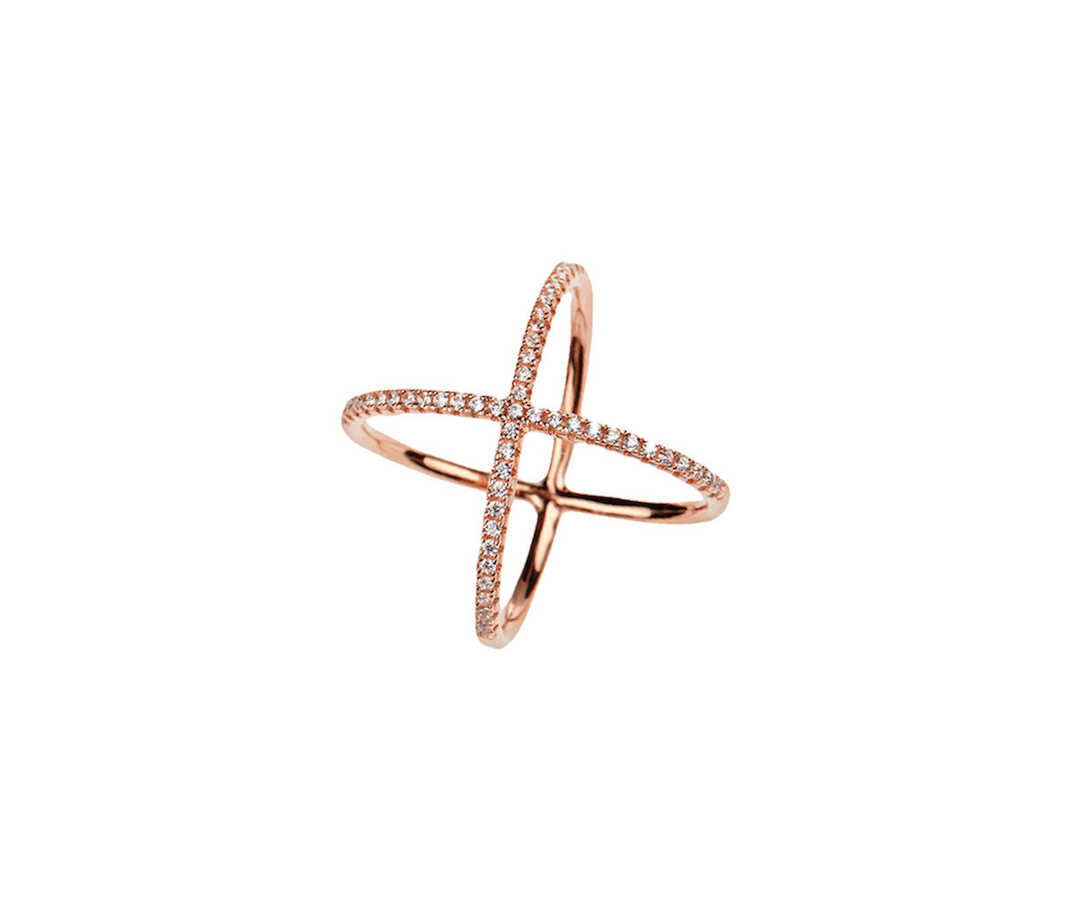 Silver in 1 micron Rose Gold Crossed-Orbits Ring