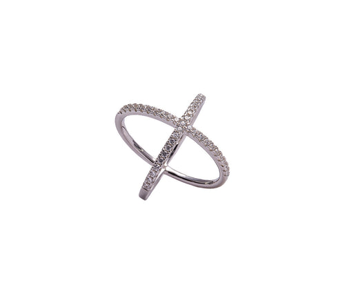 Silver Crossed-Orbits Ring