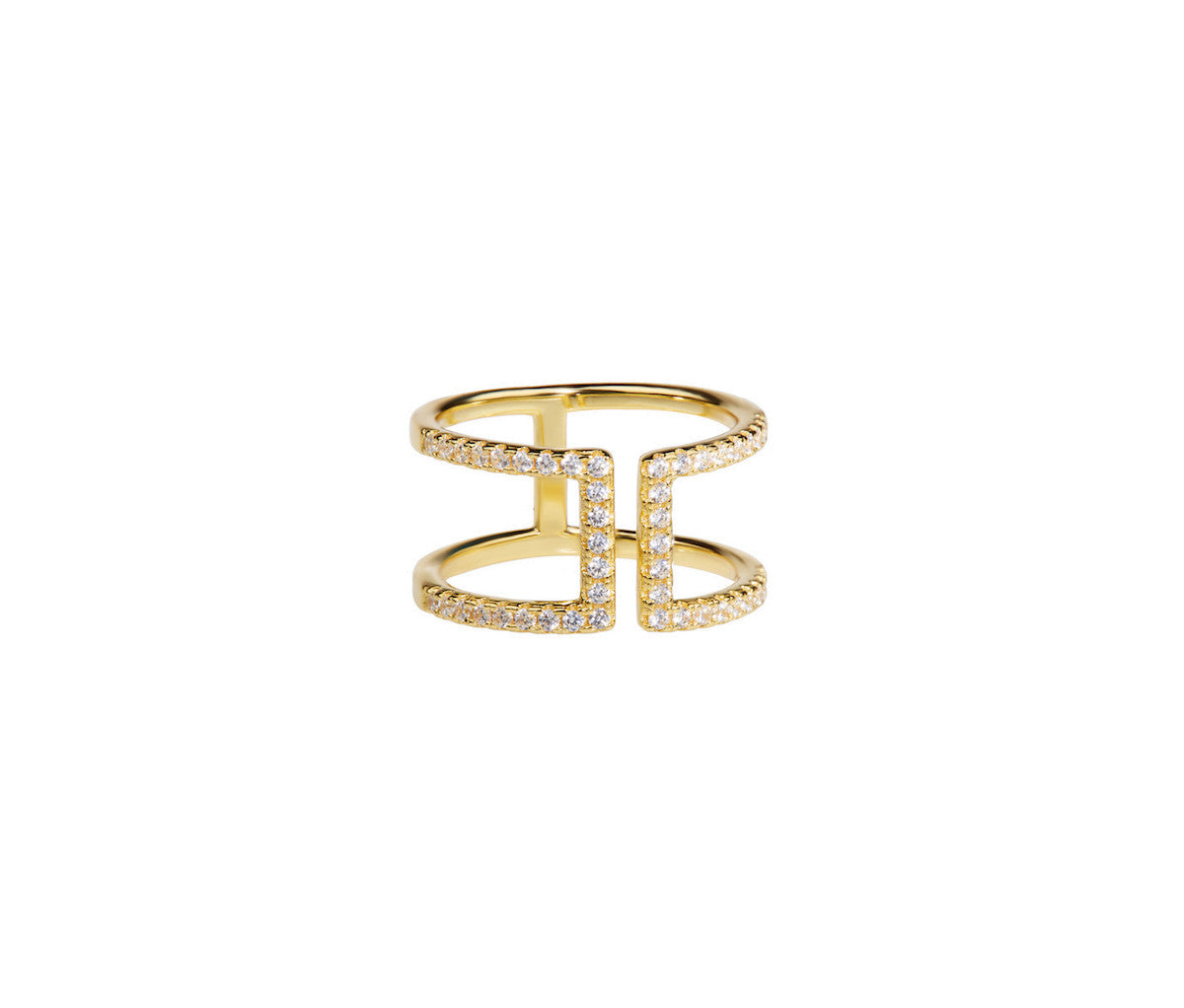 Silver in 1 micron Yellow Gold Double Bar Ring