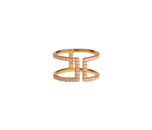 Silver in 1 micron Rose Gold Double Bar Ring