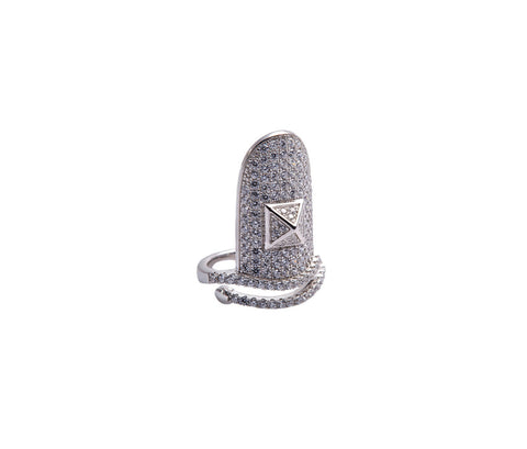 1 Carat Diamond-Shaped Silver Ring