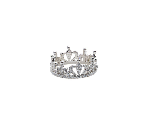Silver Crystal Crown Ring