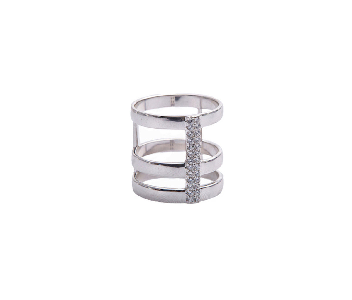 Silver Three-Band Connected Statement Ring