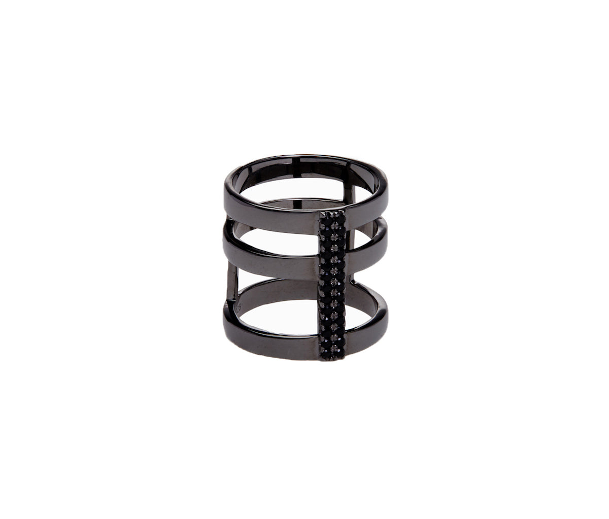 Black Three-Band Connected Statement Ring