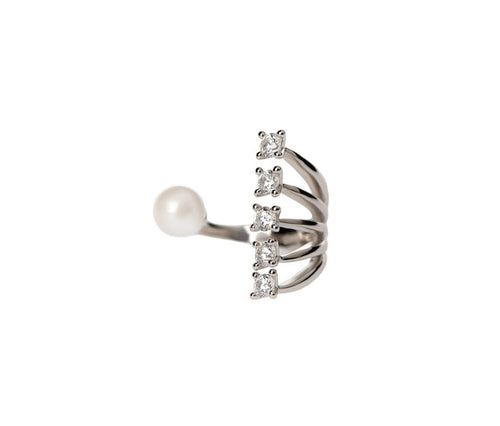 Silver Open Ring with a Pearl and 5 Crystals