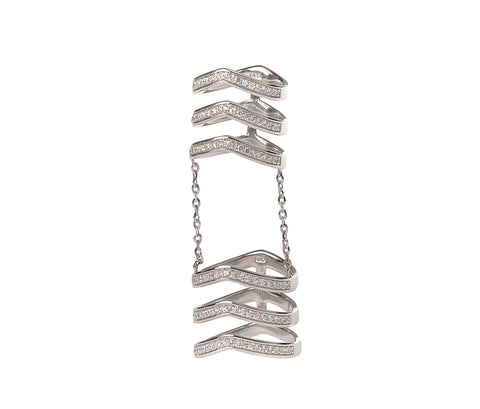 Silver Open Knot Two Finger Ring