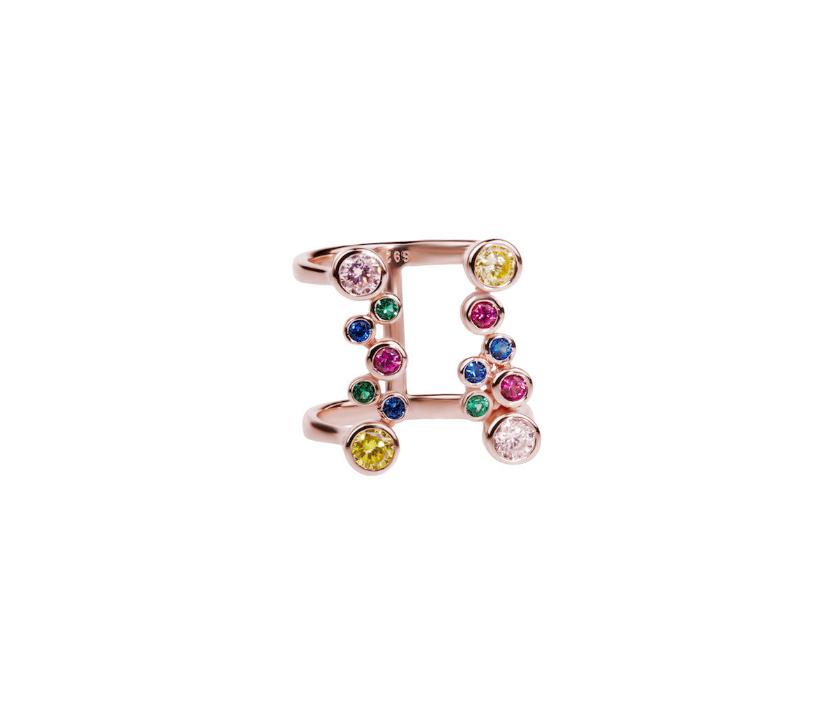 Pink Bubble Dazzling Ring with Multicolor Stones