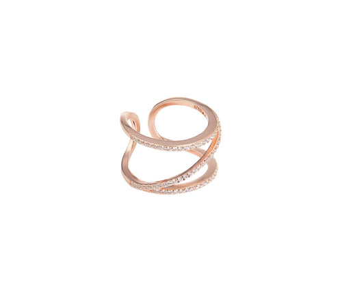 Rose Gold-plated Silver ZigZag Ring