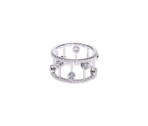 Silver Dual Band Crown Ring