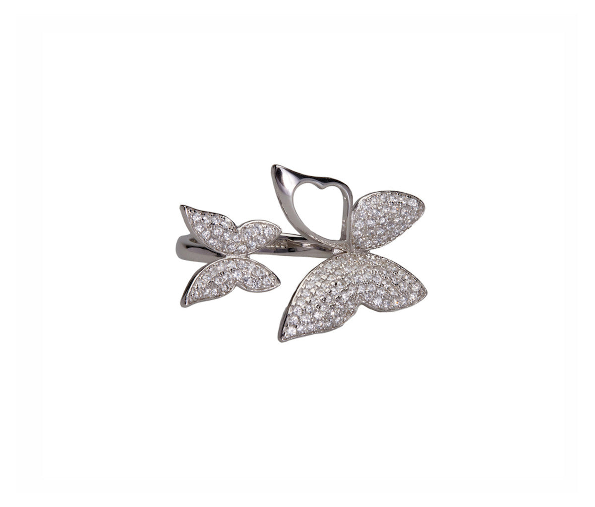 Silver Butterfly Open Wing Ring