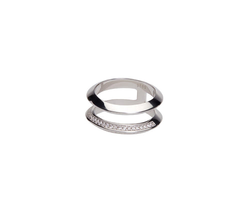 Silver Dual Orbits Ring
