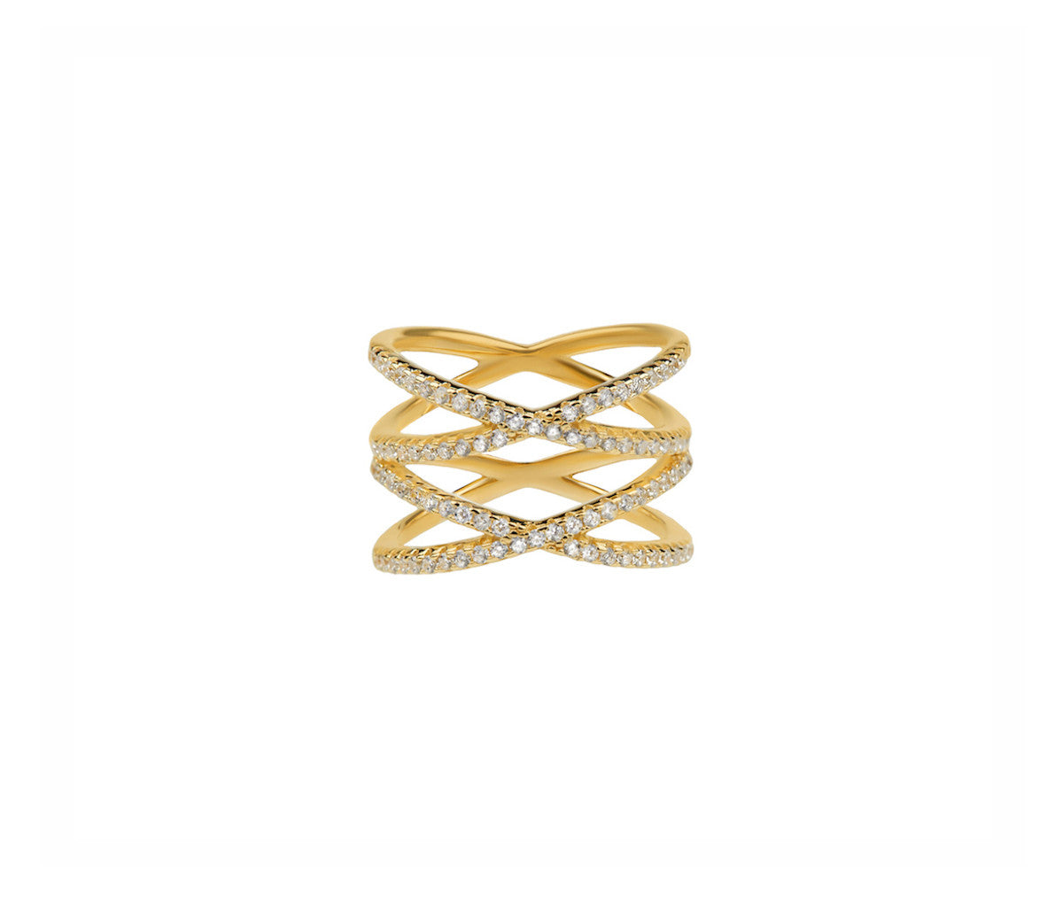 Yellow Gold Silver Ring with Four Crossed Orbits