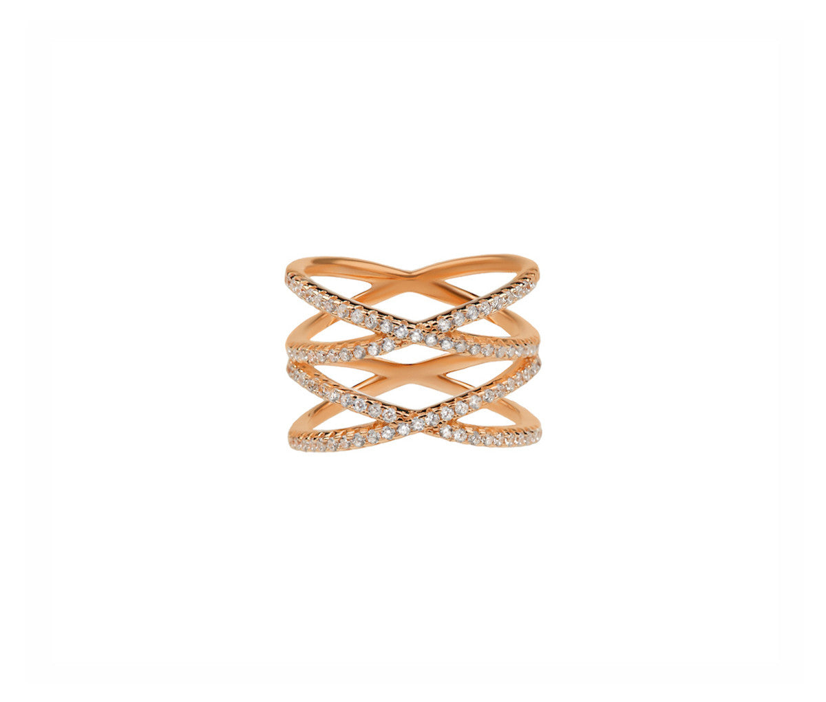 Rose Gold Silver Ring with Four Crossed Orbits