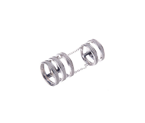 Five-Band Full Finger Ring, linked with 2 Elegant Silver Chains
