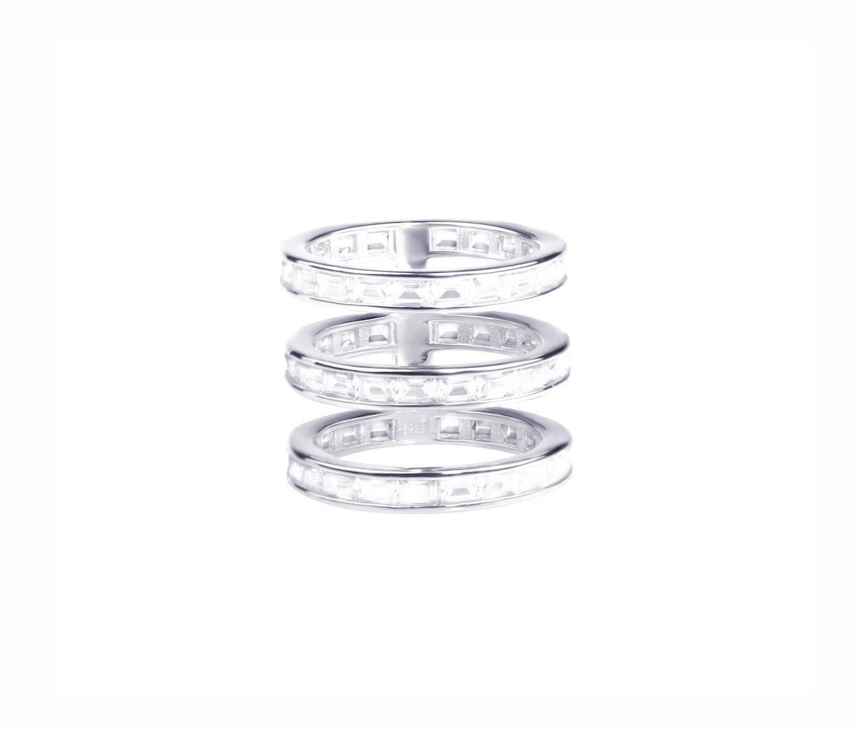 Three Crystal Band Ring