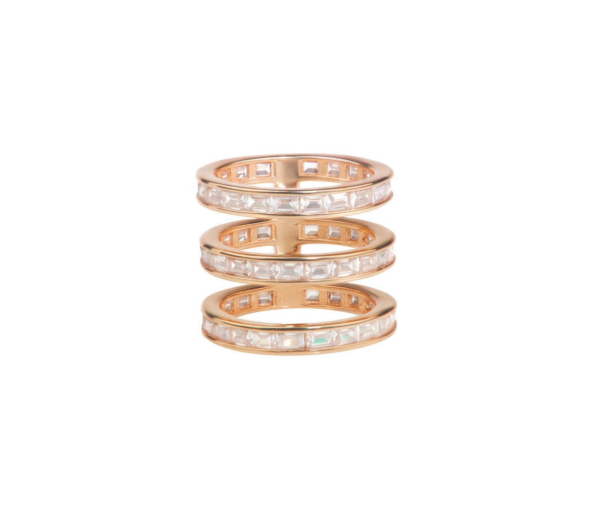 Rose Gold-plated Three Crystal Band Ring