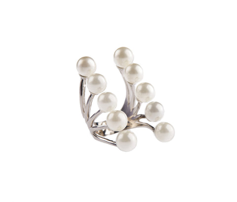 Rose Gold-plated Silver Open Ring with a Pearl and 5 Crystals
