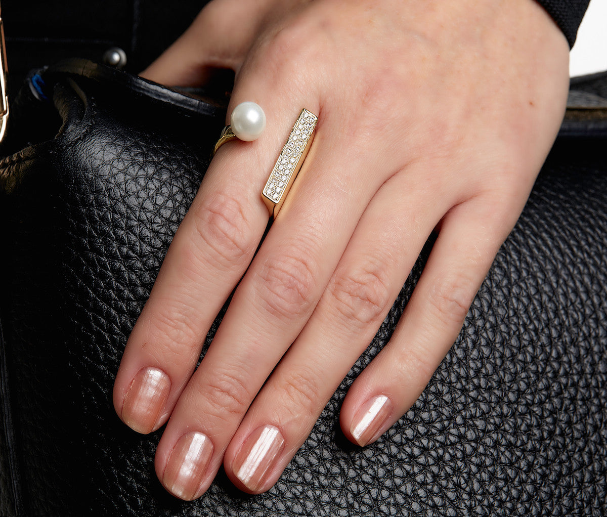 Yellow Gold-plated Silver Wrap Ring With Pearl