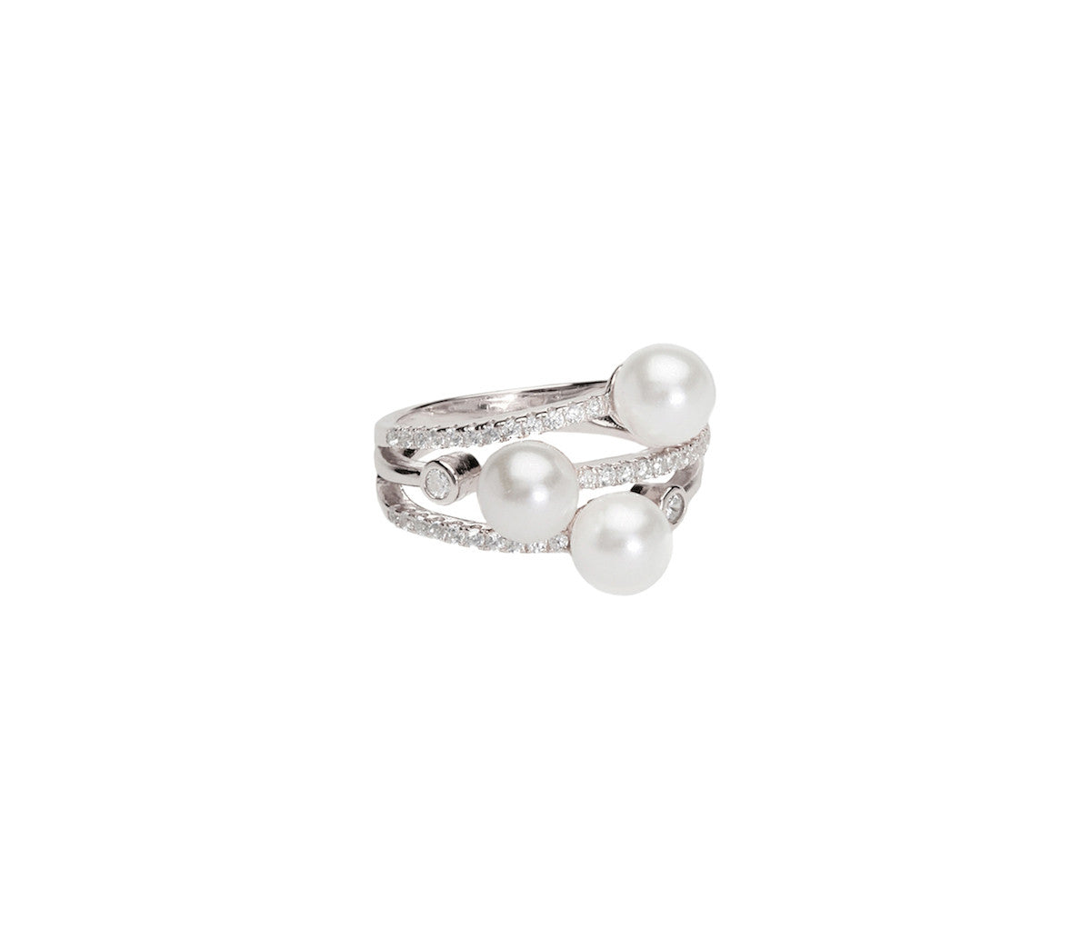 3 Pearls Stacked Silver Ring