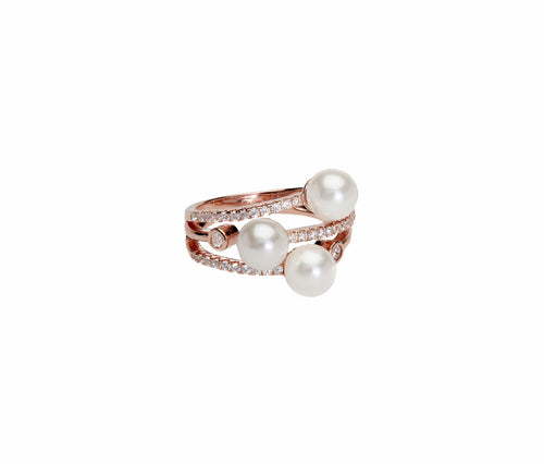 3 Pearls Stacked Rose Gold Ring