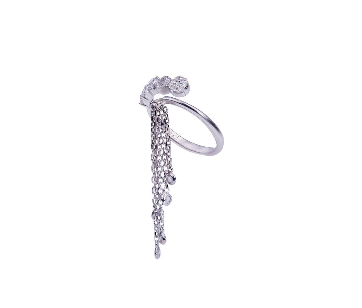Silver Open Ring with a Tassel Charm
