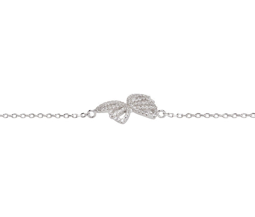 Silver Single Butterfly Intricate Bracelet