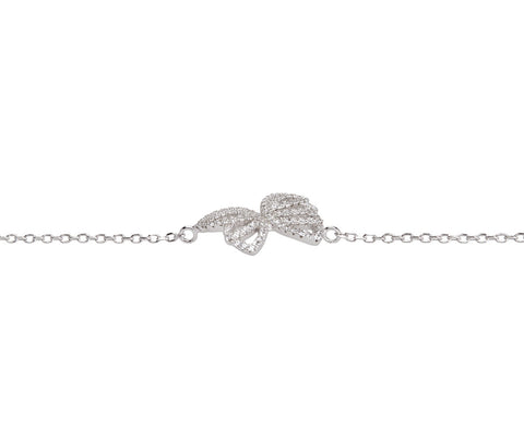CZ Silver Safety Pin Bracelet