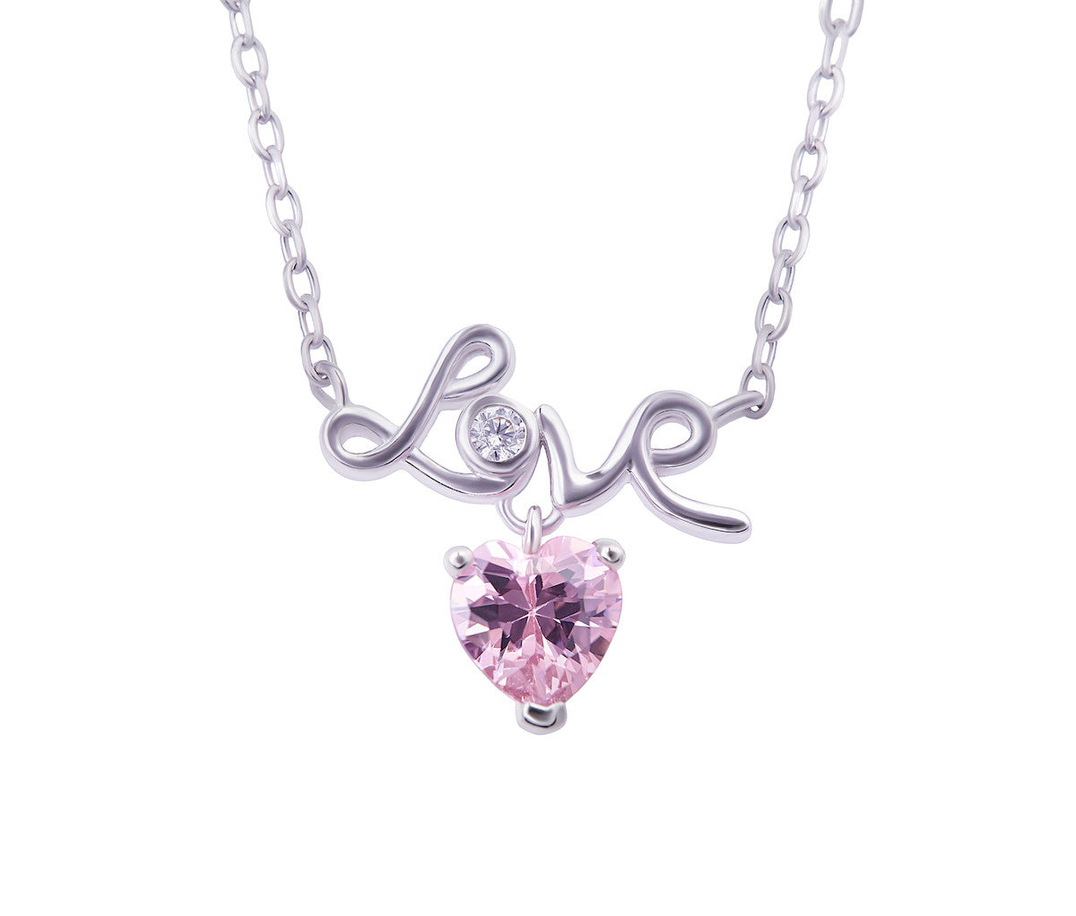 Silver LOVE Pink Heart Necklace