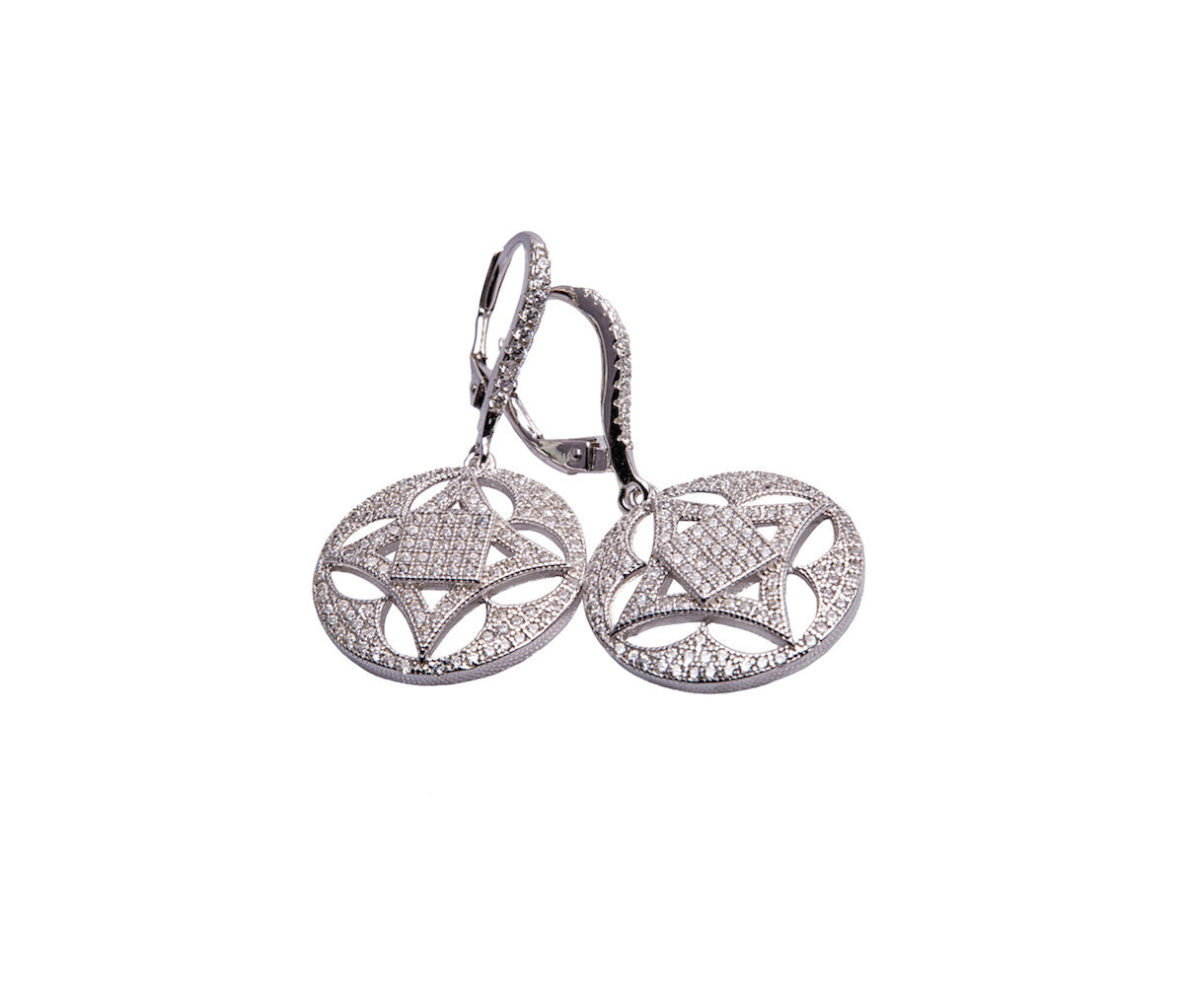 Silver Round Drop Earrings