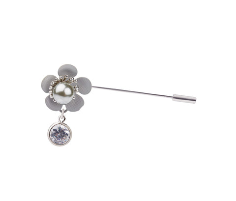 Metal, Glass with Pearl Flower Brooch / Hijab Pin