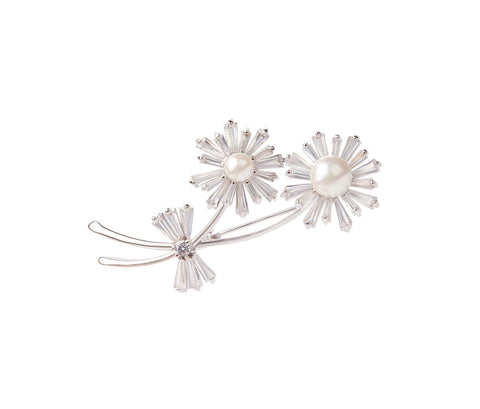 Flowers with Pearl Silver Brooch