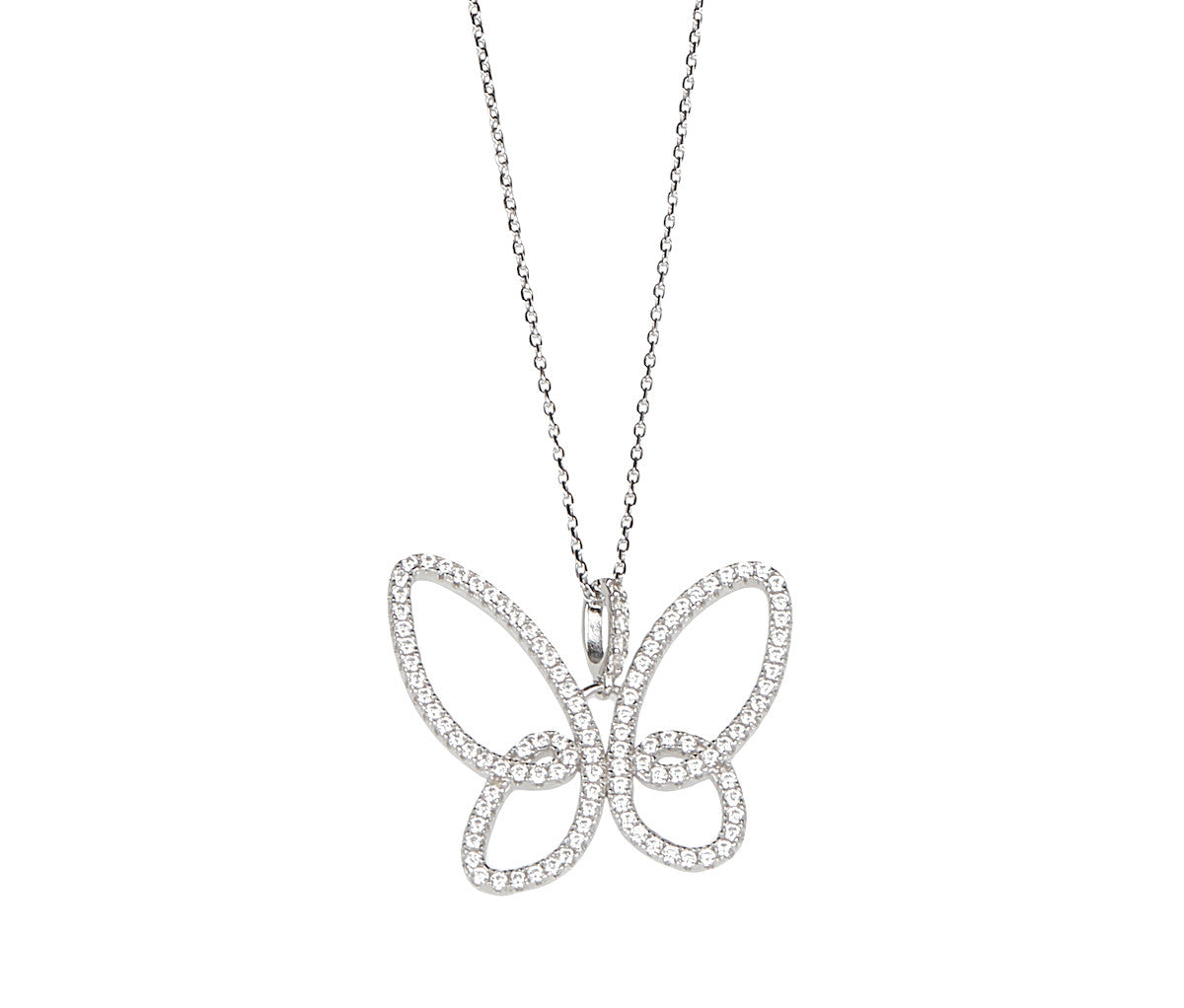 Silver Necklace with Butterfly Pendant