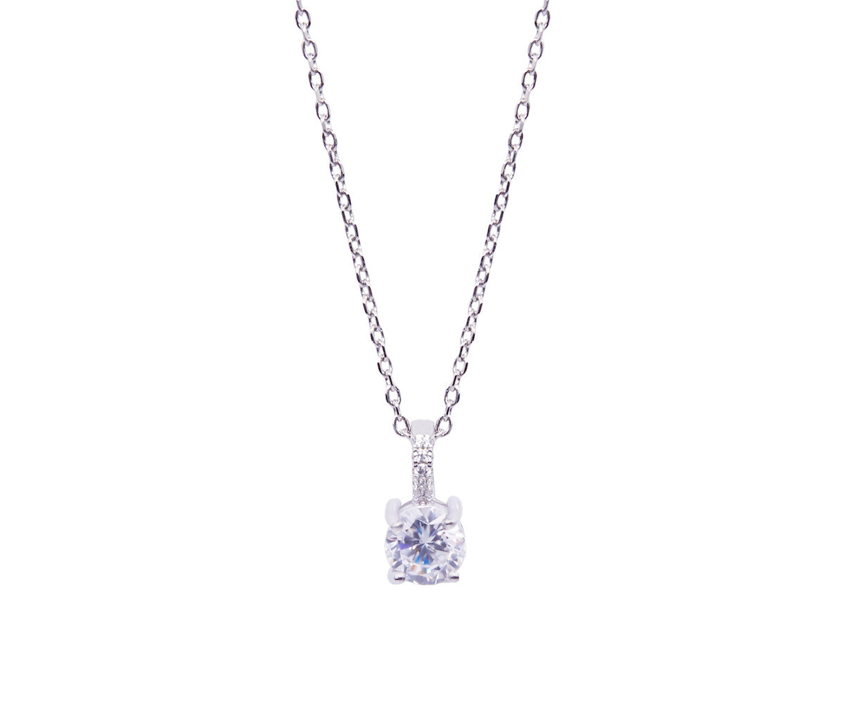 Silver Necklace with 1 carat Diamond-shaped Pendant