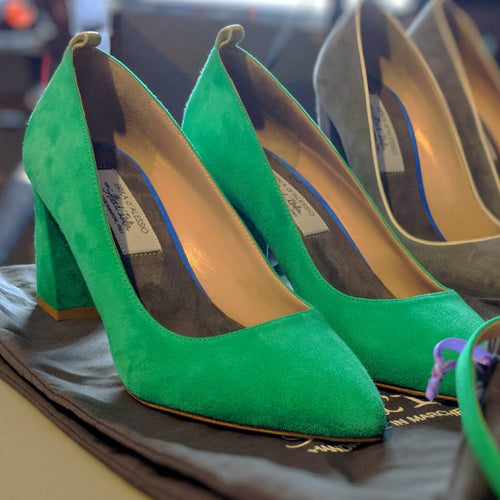 Green Suede 70mm Ankle Strap Block Heel