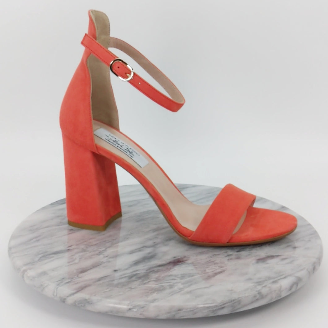 Italian Handmade Orange Suede Ankle Strap Sandal (90mm)