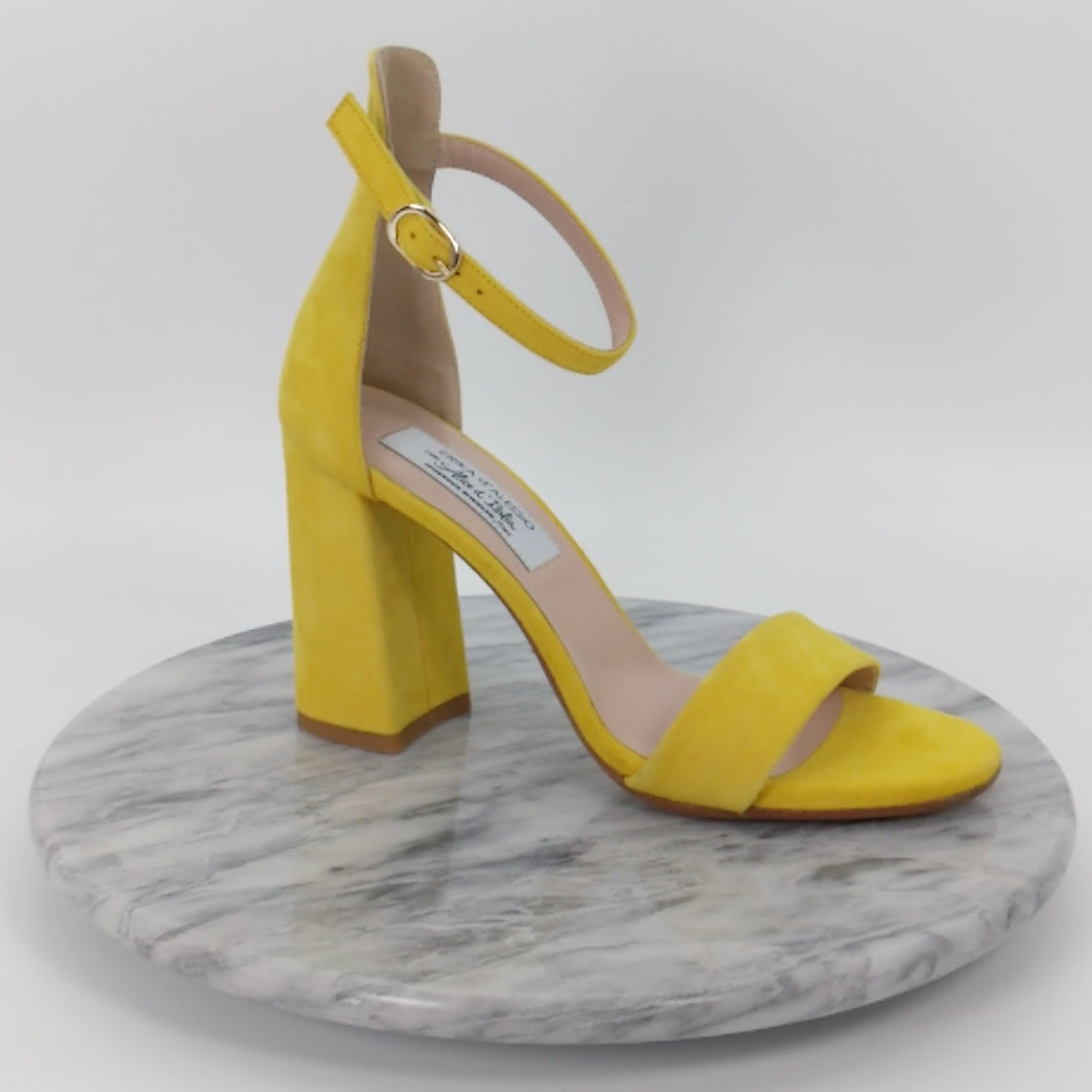 Italian Handmade Yellow Suede Ankle Strap Sandal (90mm)