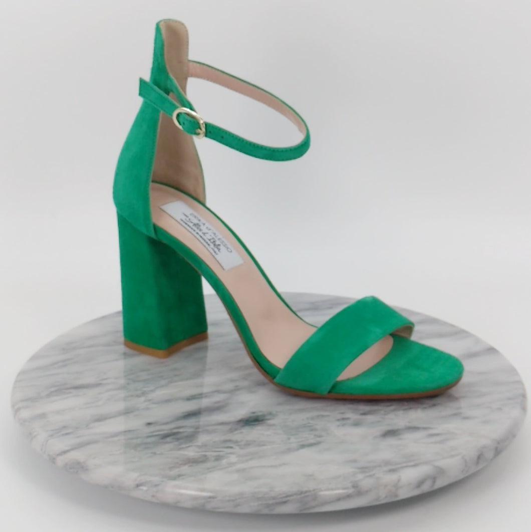 Italian Handmade Green Suede Ankle Strap Sandal (90mm)