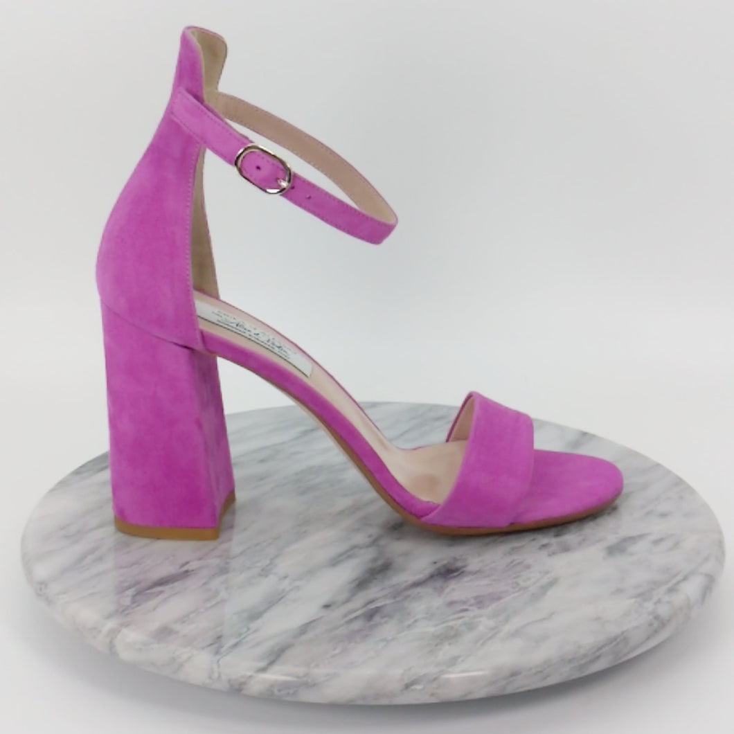 Italian Handmade Orchid Suede Ankle Strap Sandal (90mm)