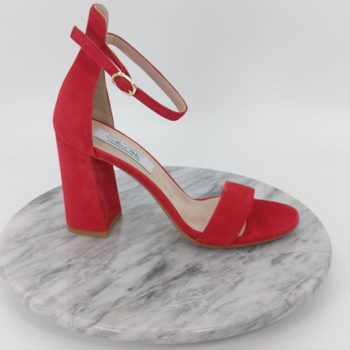 Italian Handmade Cherry Red Suede Ankle Strap Sandal (90mm)