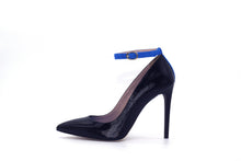 Italian Handmade Black Saffiano Patent Ankle Strap High Heel (100mm) Side view.